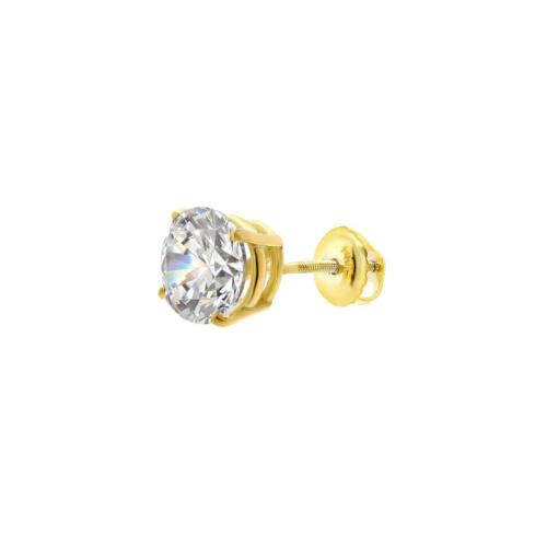 ONE PIECE ROUND CUT BASKET SCREW BACk MEANS EARRING SOLID 14K YELLOW GOLD 1CT