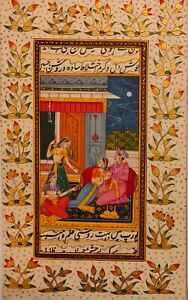 Hand-Painted-Mughal-Maharajah-King-Romance-Miniature-Painting-India-Art-Paper
