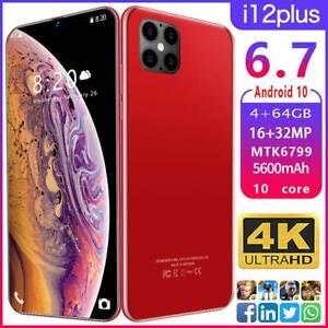 "Je 12 plus 6.7"" Téléphone Intelligent Android 10.0 10-core 5600 mAh 4GB+64GB MTK6799 5 g cadeau"