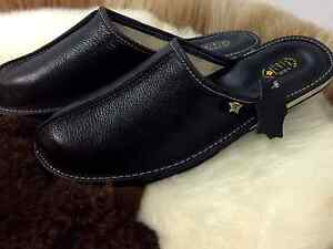 New Mens Leather Cozy Black Slippers Flip Flop Wool Size 7 8 9 10 11 12 13