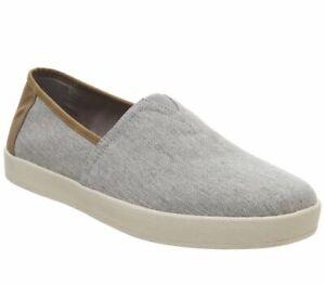 Para-Hombre-Toms-Avalon-Cupsole-Slip-Ons-llovizna-Gris-Chambray-Informal-Zapatos