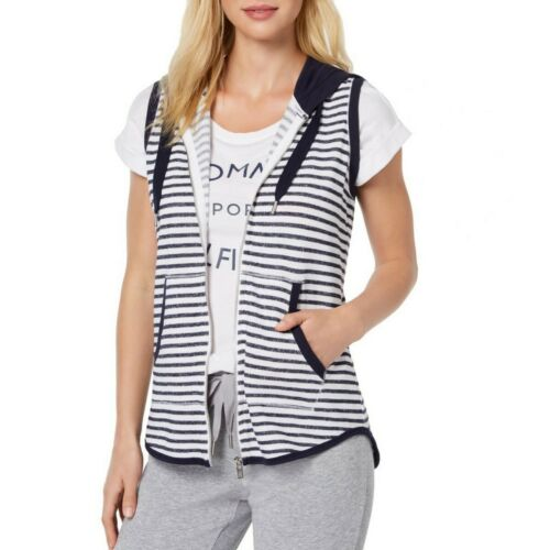 TOMMY HILFIGER SPORT Women/'s Striped French Terry Hooded Vest Jacket Top TEDO