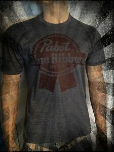 Pabst-Blue-Ribbon-beer-shirt-Vintage-look-and-feel-all-sizes-hipster-emo-gray