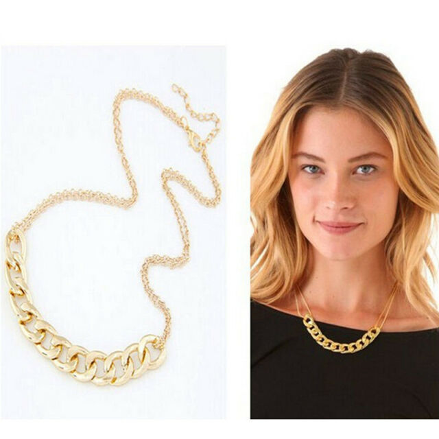 Charm Double Chains Necklace Gold Plated Circles Collar Pendant Necklaces EO