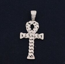 "2 1/4"" Men's Ankh CROSS Iced Out CZ Eternity Pendant White Sterling Silver 925"