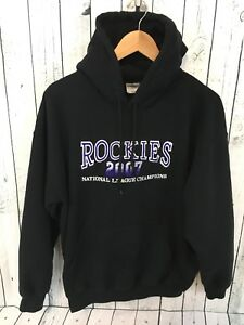 huge discount 0300b 544c3 Details about Colorado Rockies 2007 NL Champs Pullover Hoodie Embroidered  Black Size Large