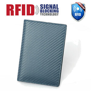 Men's Leather RFID Blocking Slim Card Holder Passport Carbon Fiber Bifold Wallet