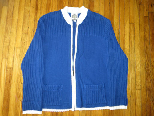 Authentic Coogi Women's Blue white Zipper Cardigan