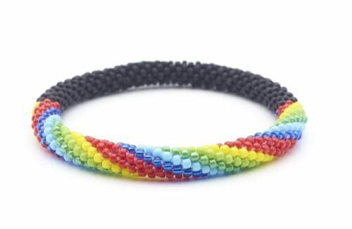 Sashka-Co-regular-6-8-034-RAINBOW-ROAD-Glass-Beaded-BRACELET-mixed-Nepal-Jewelry