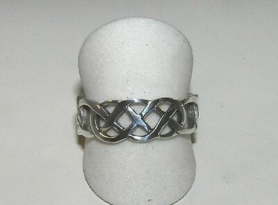 Celtic Knot Ring Cut-Out Knotwork Band Sterling Silver Size 12