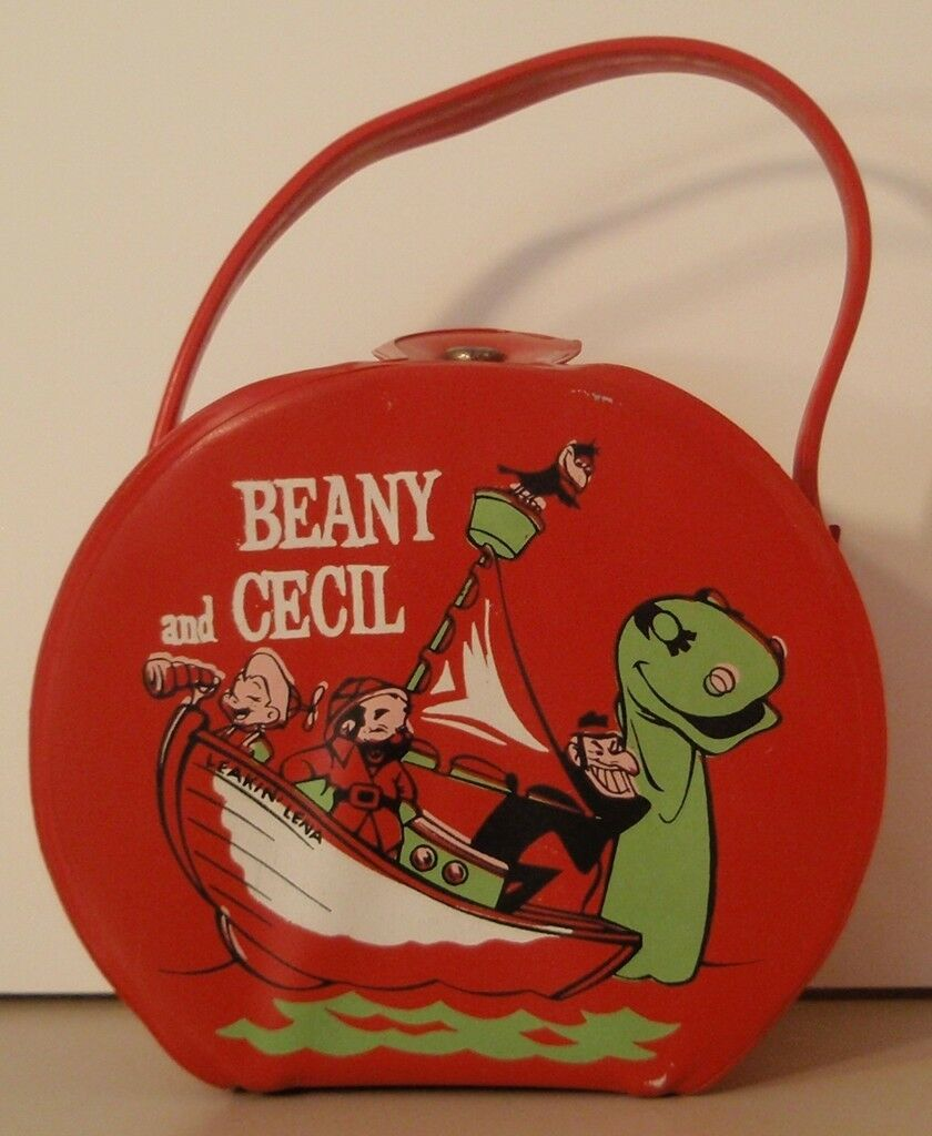 1961 BEANY & CECIL Vinyl Lunchbox, bag, purse CLAMPETT
