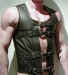 Mens Leather STEAMPUNK Waistcoat Vest Corset GOTH GAY  Victorian