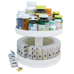 Pill holder carousel medicine bottle daily organizer for Prescription bottle holder