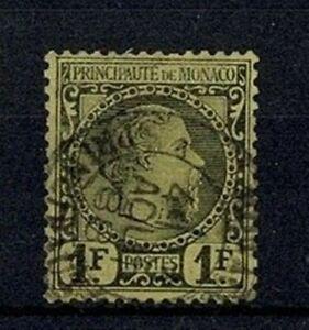 MONACO-STAMP-YVERT-9-034-PRINCE-CHARLES-III-1F-BLACK-ON-YELLOW-1885-034-USED-F-V565
