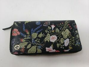 Gucci-Long-Bi-Fold-Wallet-Women-039-s-Leather-Black-Floral-Print-Chris-Knight-Zip