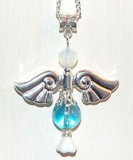 Very Large Beautiful Aqua Aura Quartz Crystal Guardian Angel Charm Pendant