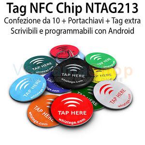 TAG-NFC-Chip-NTAG213-CONFEZIONE-DA-10-IN-PVC-E-ADESIVO-PORTACHIAVI-TAG-EXTRA