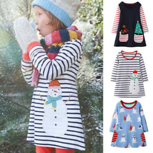 2-8Y-Toddler-Kid-Baby-Girl-Christmas-Splice-Casual-Long-Sleeve-Dress-Tops-Outfit