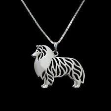 ❤️ Halskette mit Anhänger Collie,  Shetland Sheepdog Sheltie, versilbert