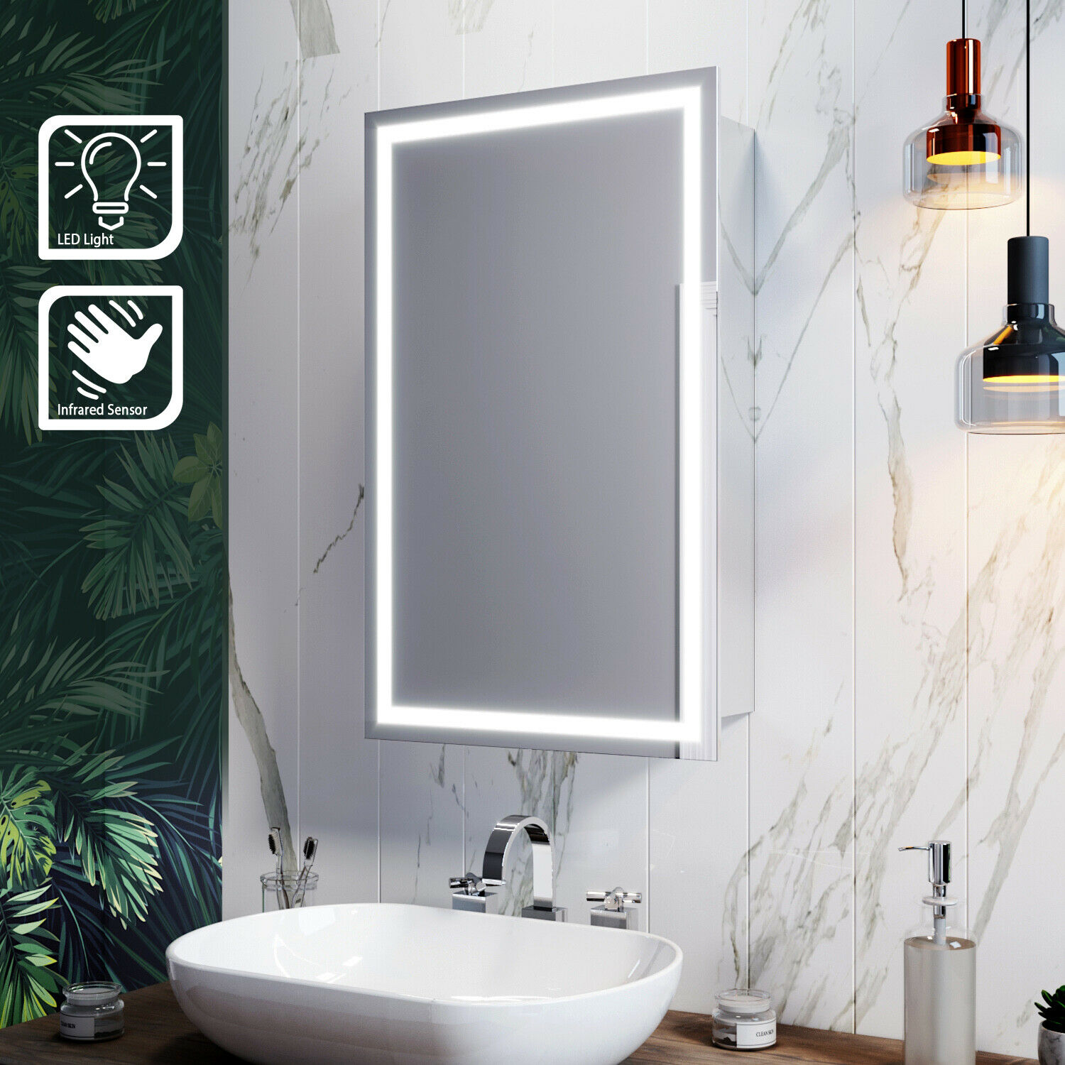 Illuminated LED Bathroom Mirror Cabinet with Lights Infrared Sensor Wall Mounted