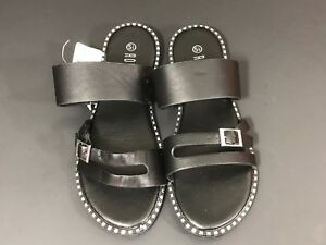 6b20b4341465 Rouge Helium Women s Sandals Size 5 1 2 Black Slip On Flat Summer ...