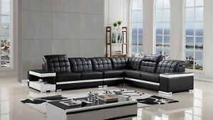 Details about Contemporary Black White Leather Sectional Sofa Chaise Chair  Corner Console Set