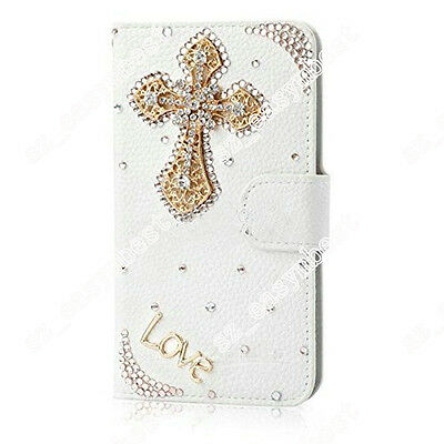 2015 Flip Bling Crystal PU Leather Card Stand Wallet Case Cover For LG Phones