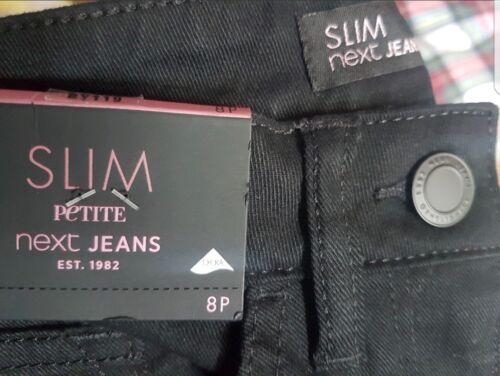 NEXT SLIM Petite Donne Ragazze Jeans Nero Taglie 6P a 12P