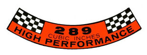 New-Mustang-289-High-Performance-Air-Cleaner-Decal-Hipo-Free-Shipping-DF-15