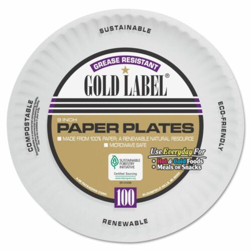 """AJM Packaging Corporation 9"""" Coated Paper Plates - AJMCP9GOAWH"""