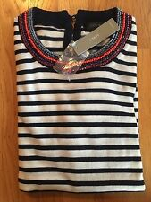 NWT J Crew Women's XS Merino Wool Tippi Beaded Sweater in Linen Navy $98 #G1247