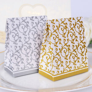 10pcs-Golden-Silver-Ribbon-Wedding-Favours-Candy-Boxes-Party-Gift-Paper-Box-AA