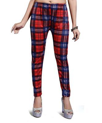 Ladies Red Tartan Print Leggings Pants Plus Size Stretch Elasticated Waistband