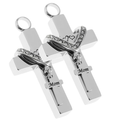 2Pcs Memorial Ashes Urn Cross Pendant Necklace Cremation Family Jewelry Mom