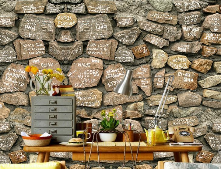 3D Text Stones Wall Paper Wall Print Decal Wall Deco Indoor wall Murals
