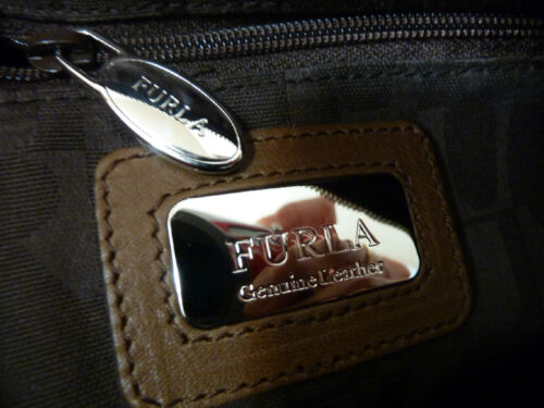 NWT FURLA Oak Brown Napa Leather Laila Bauletto//Satchel Bag $428