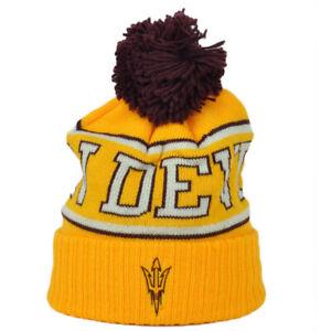NCAA-Adidas-Arizona-State-Sun-Devils-KU84Z-Yellow-Knit-Beanie-Pom-Cuffed