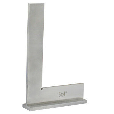 """Hardened Steel 6/'/' x 4/"""" Machinists Work Shop Precision Square Squares Wide Base"""
