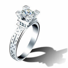 PARIS SILVER PLATED ALLOY DIAMOND SIMULANT ENGAGEMENT RING DREAM RING FINGER! 8