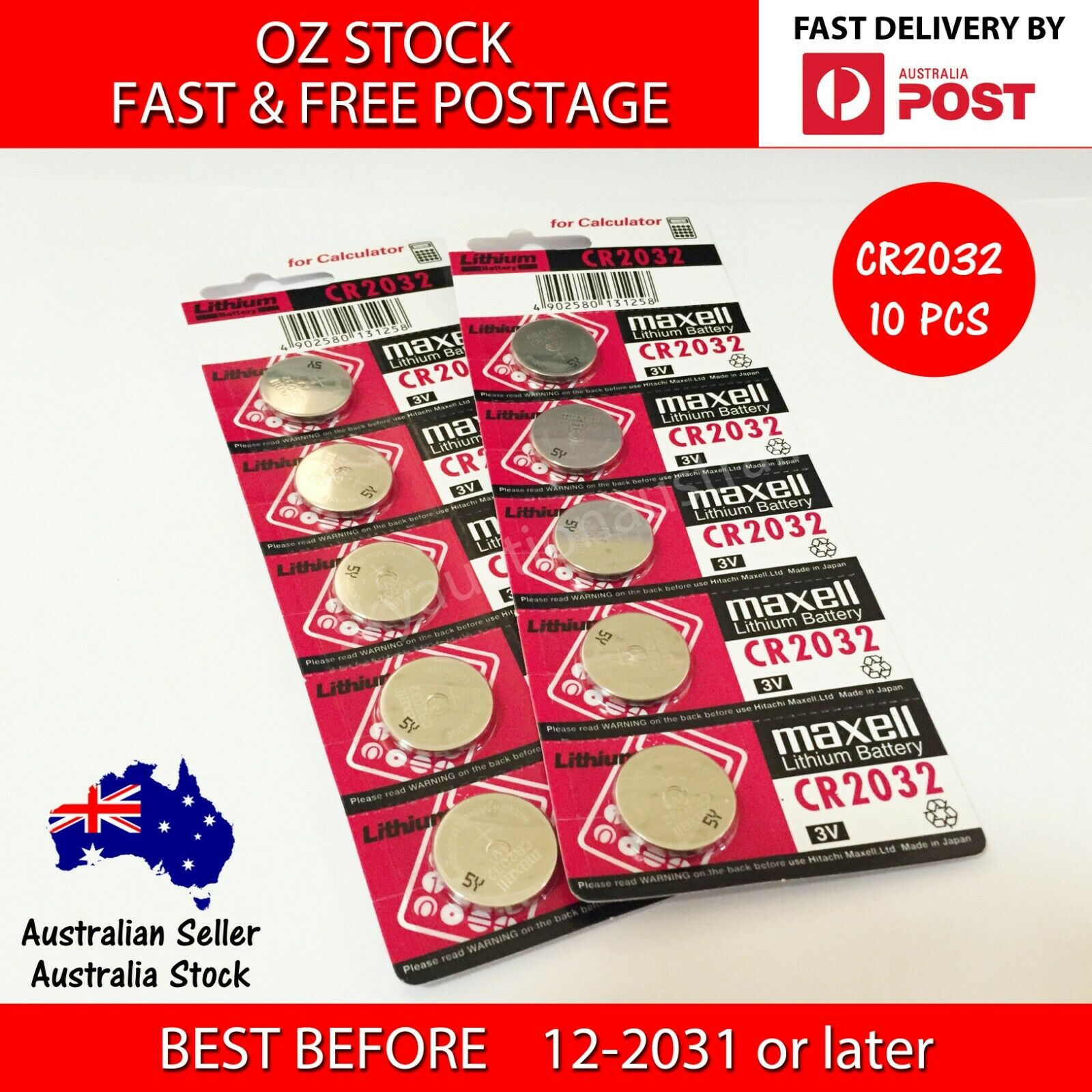 10 x CR2032 3v 225mah lithium Battery button cell/coin for calculator MELB STOCK