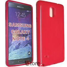 Custodia Cover Per SAMSUNG Galaxy Note 4 N910F N910 FUCSIA GEL TPU + Pellicola
