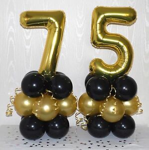 Image Is Loading 75TH BIRTHDAY AGE 75 GOLD BLACK FOIL BALLOON