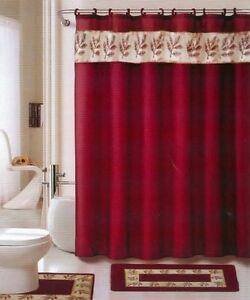18 Pc Bath Rug Set Oakland Burgundy Gold Bathroom Shower