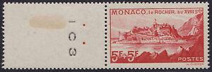 1939-MONACO-N-194-Vue-du-Rocher-avec-bord-de-feuille-SUPERBE-MONACO-B35-MNH