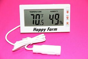 "Digital Egg Incubator THERMOMETER HYGROMETER | Remote Sensor (32"" wire)"
