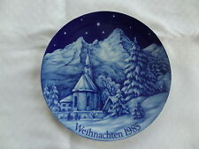 Weihnachts-Teller 1985 Wandteller Bavaria Porzellan Kobald-Blau Kapelle Schnee
