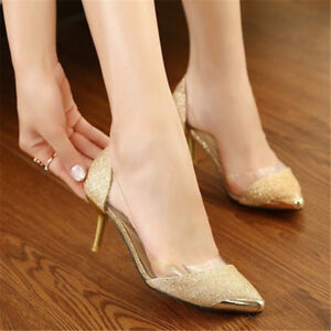 Sexy-Women-Sequins-Pointed-Toe-Pumps-High-Heels-Shoes-Pumps-Party-Wedding-Size-8