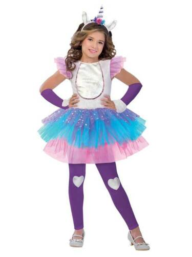 Girls Magical Unicorn Costume Childs Fantasy Fancy Dress Kids Rainbow Ballerina
