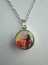 """Pope John Paul II Relic Medal Pendant Necklace 20"""" Chain"""