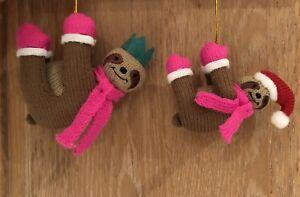 COPPIA di bradipo Lavorato a Maglia (1 e 1 Padre Baby) decorazioni natalizie da appendere  </span>